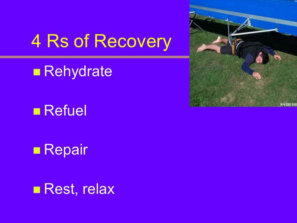 4 Rs of Recovery Rehydrate Refuel Repair Rest, relax