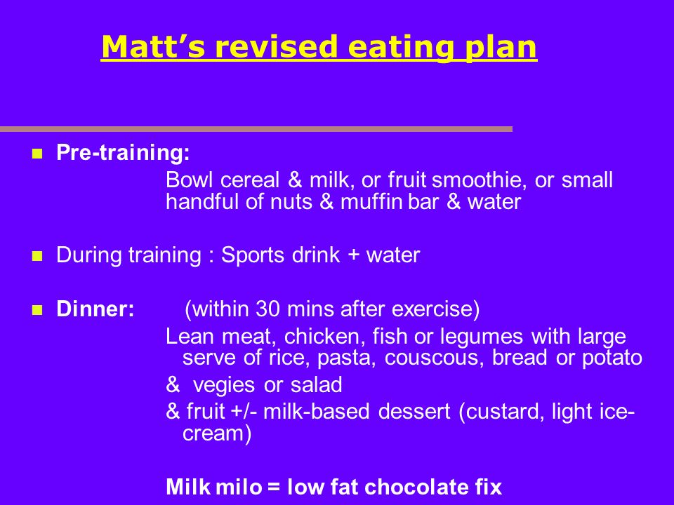 Matt's revised eating plan