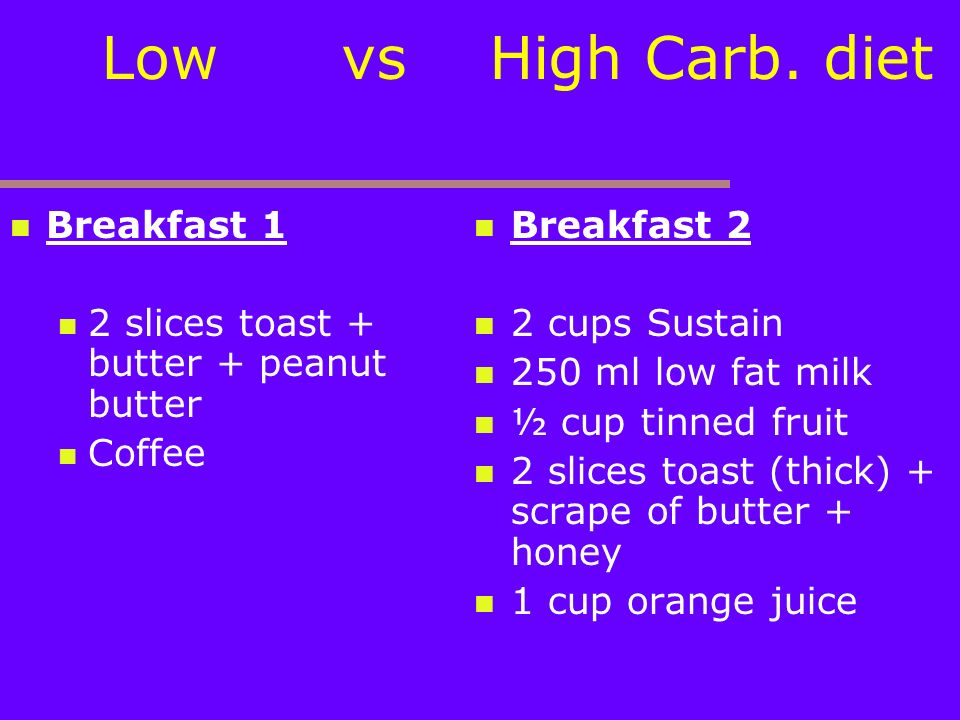 Low vs High Carb. diet Breakfast 1