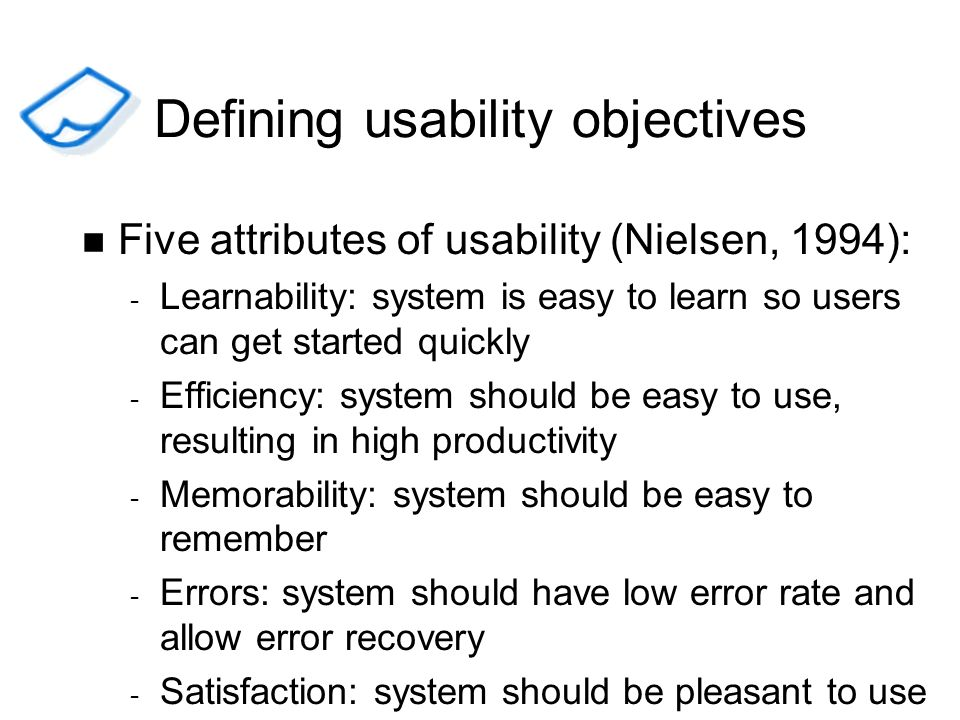 Defining usability objectives