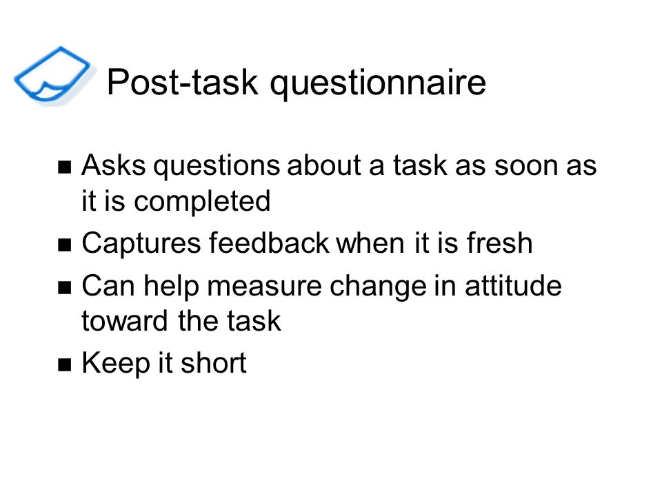Post-task questionnaire