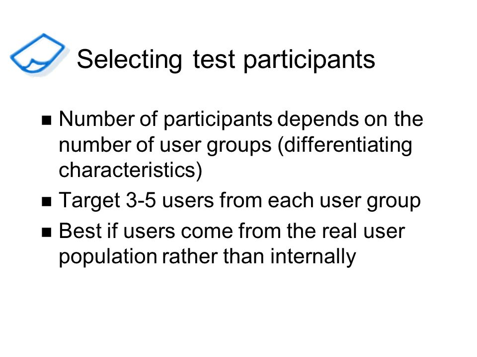 Selecting test participants