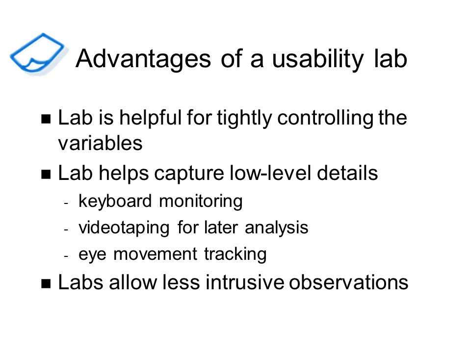 Advantages of a usability lab