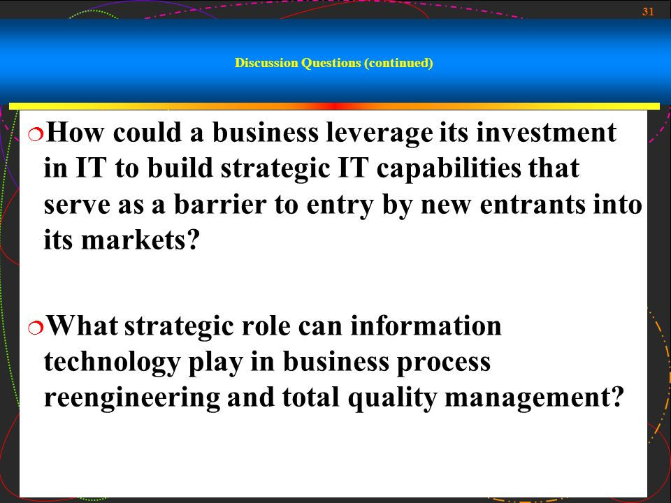 what strategic role can information technology play in business process reengineering Like other management approaches, performance management can only be   groups, the alignment of strategy, business processes and information systems   documentation – typically in the context of business process reengineering or   organizations later recognize that process models play an important role in the .