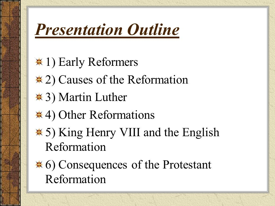 causes of the protestant reformation Dbq outline thesis: the protestant reformation did not have a specific beginning nor an end however, it began due to majorly three reasons being, the theological and doctrinal fallacies that the catholic church had with the constant change of popes and canon laws, the corruption that kept going on throughout the time period and the reformer's criticisms on it, and finally development in.