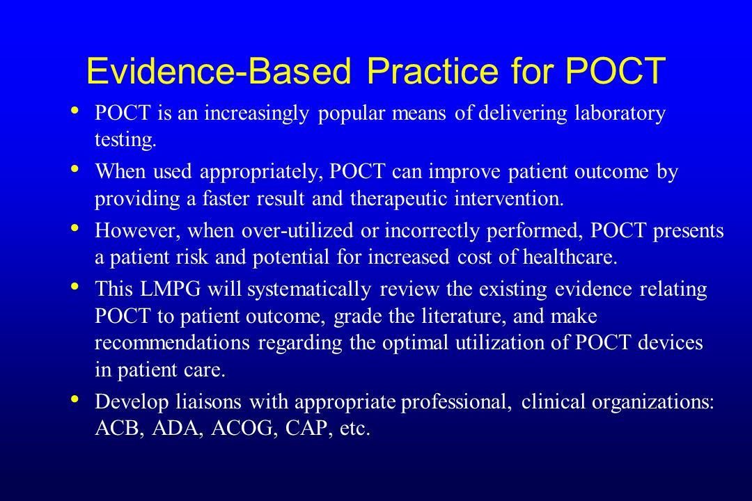Evidence-Based Practice for POCT