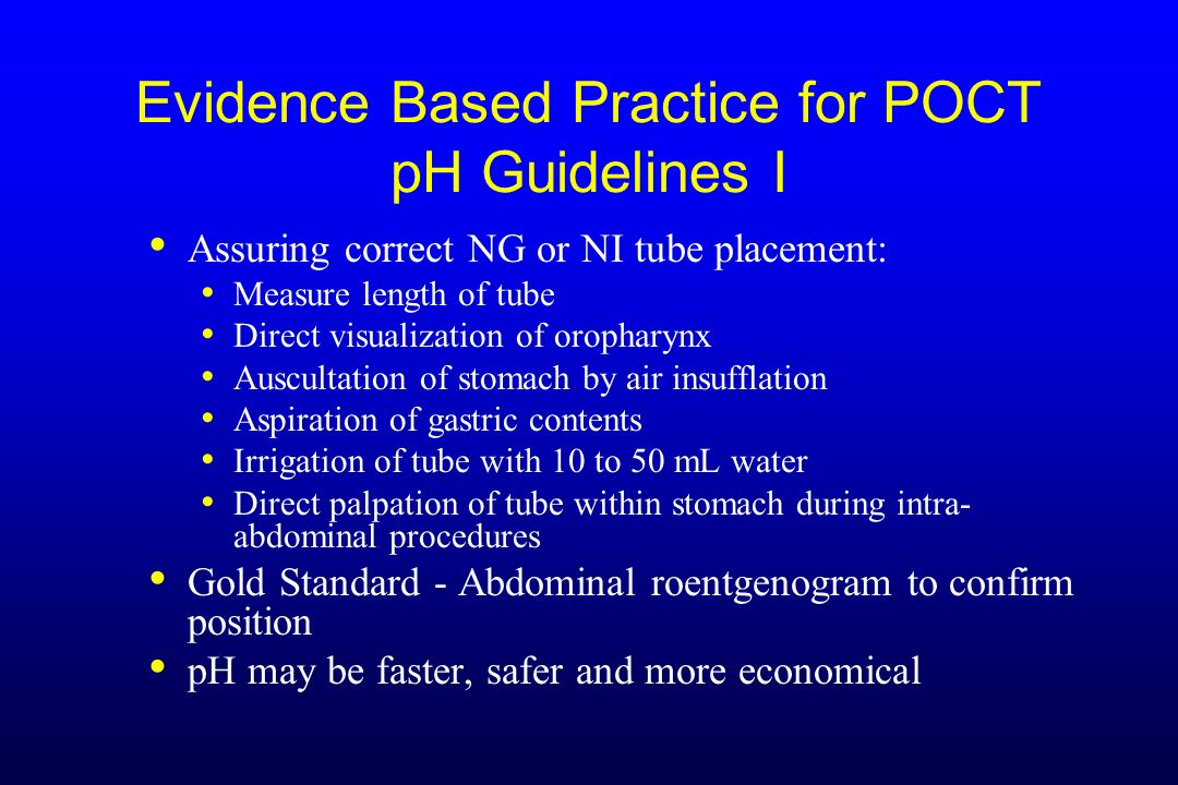Evidence Based Practice for POCT pH Guidelines I