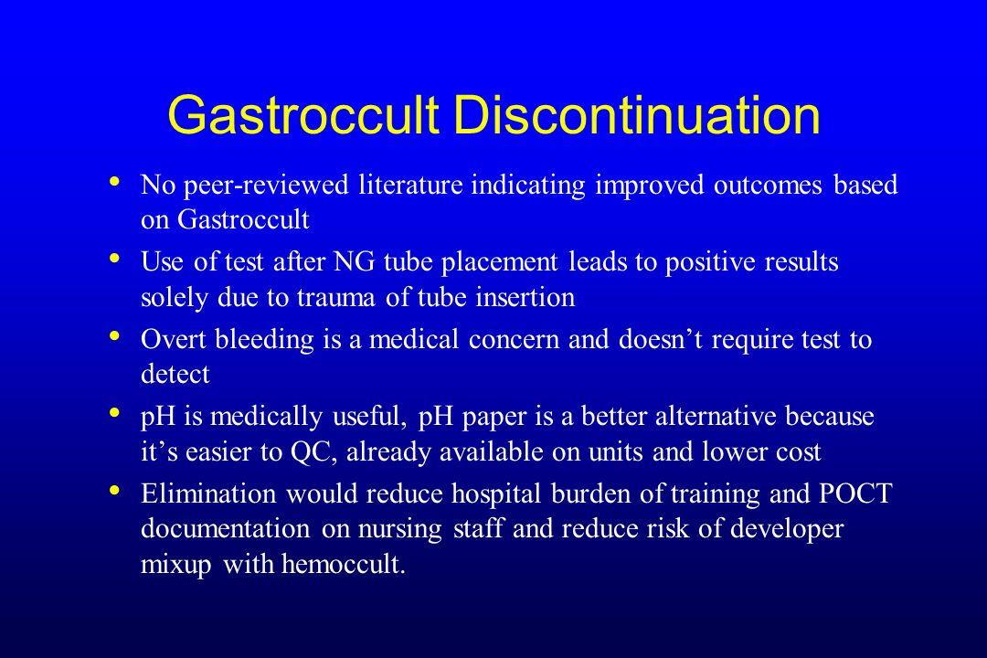 Gastroccult Discontinuation