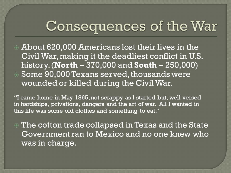 civil war consequences It was the end of the spanish civil war aftermath and consequences the spanish civil war inspired several important artists there are thousands of paintings, novels, poetry and films that recount this dark time in spanish history.