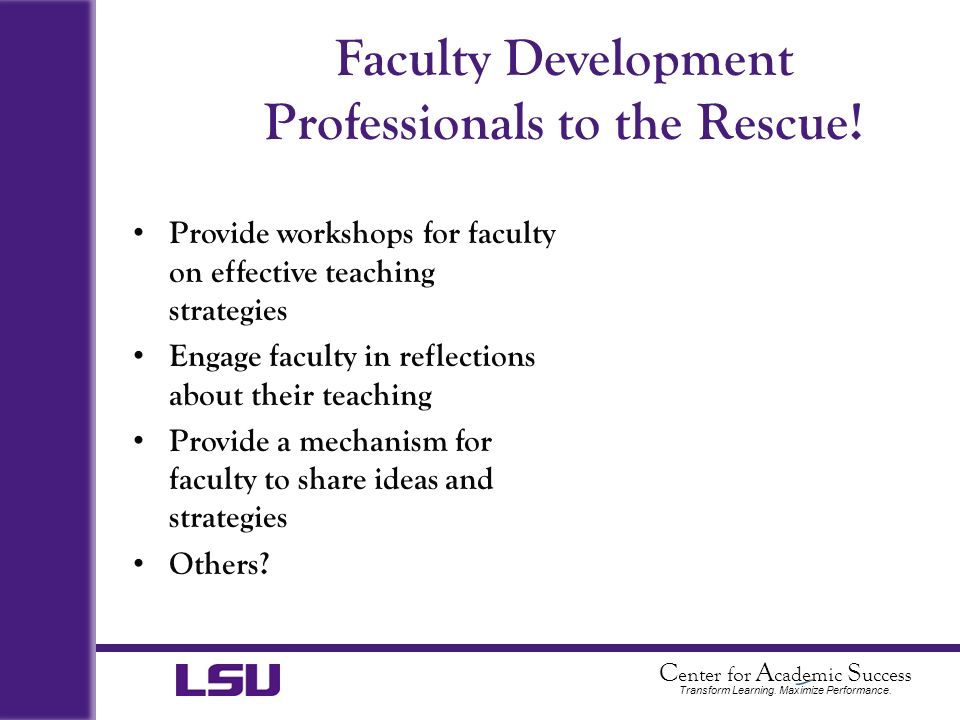 Faculty Development Professionals to the Rescue!
