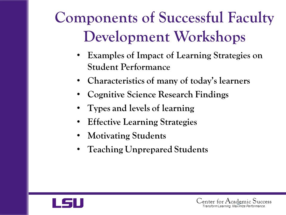 Components of Successful Faculty Development Workshops