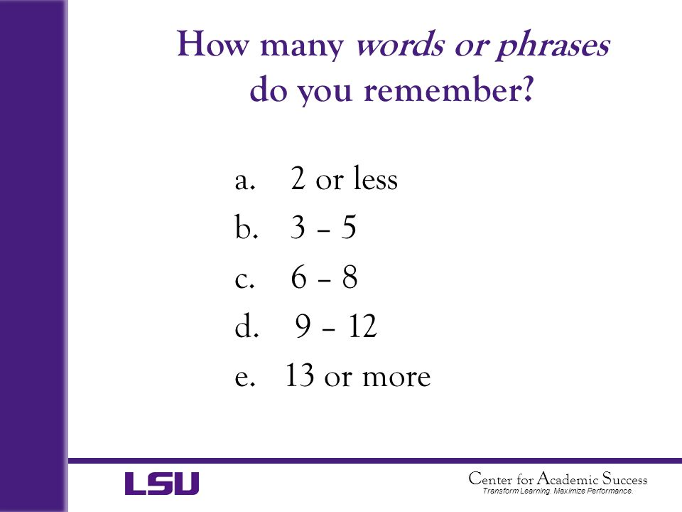 How many words or phrases do you remember