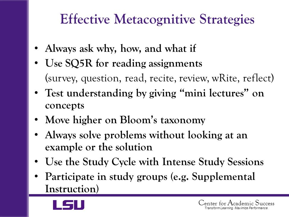 Effective Metacognitive Strategies