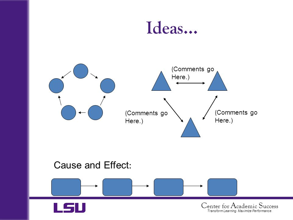 Ideas... Cause and Effect: (Comments go Here.) (Comments go