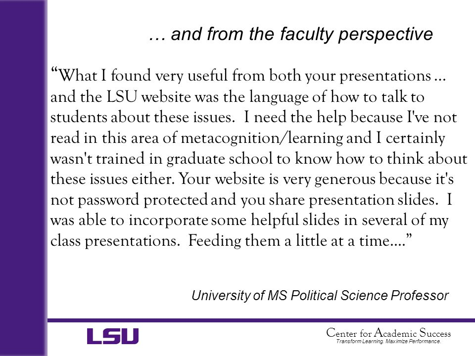 … and from the faculty perspective