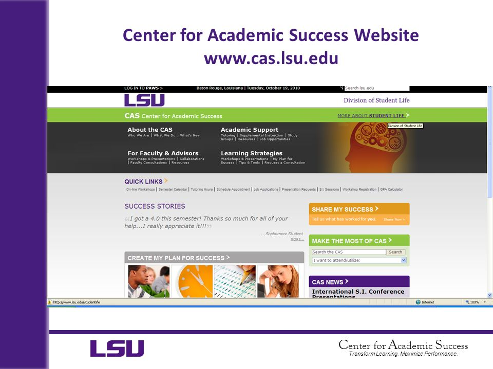 Center for Academic Success Website