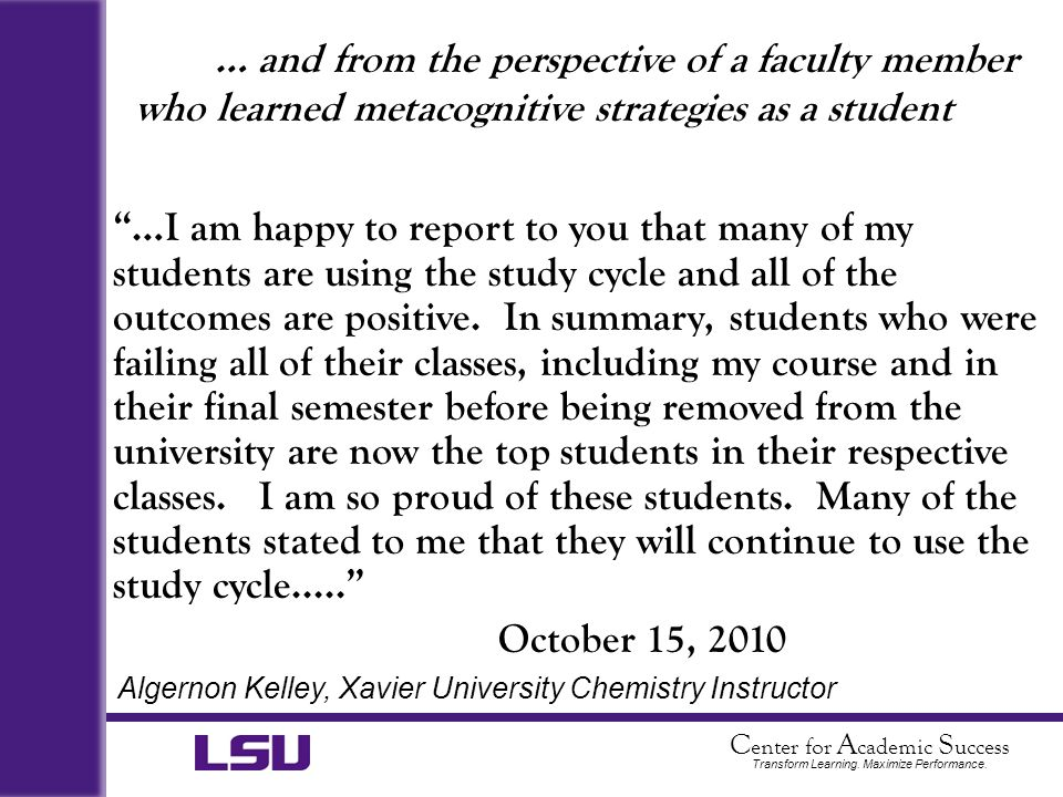 … and from the perspective of a faculty member who learned metacognitive strategies as a student