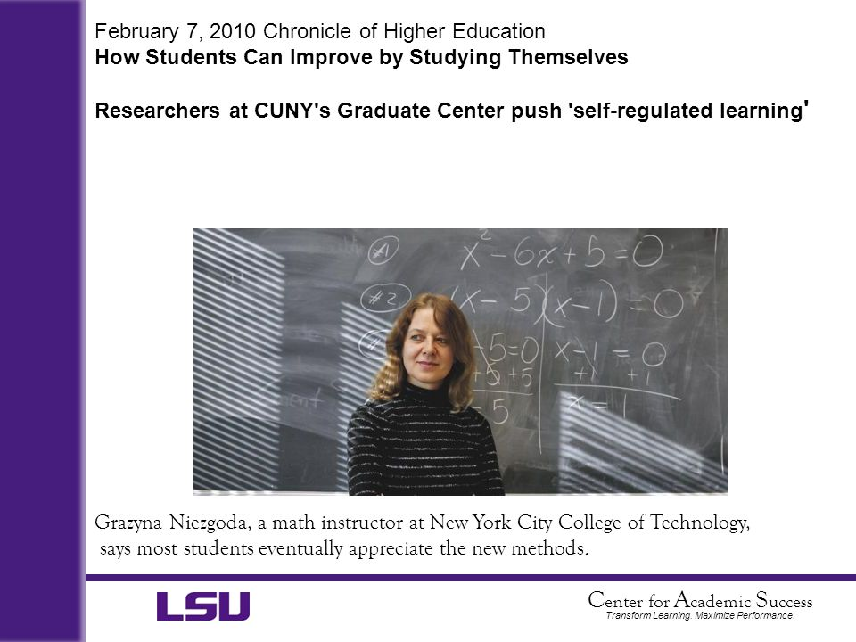 February 7, 2010 Chronicle of Higher Education