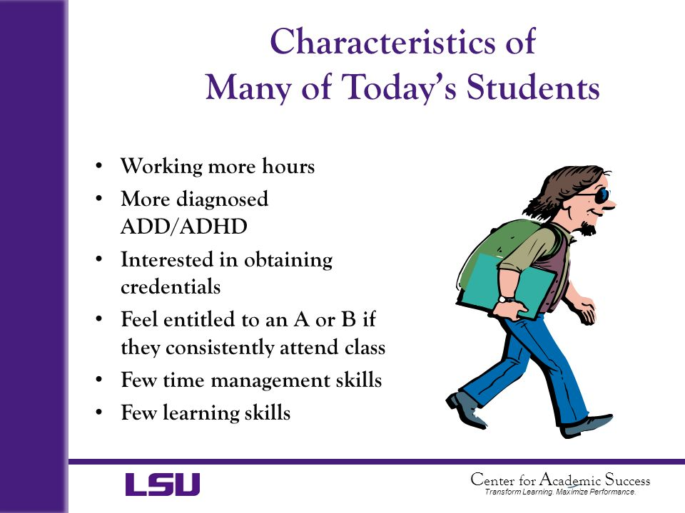 Characteristics of Many of Today's Students