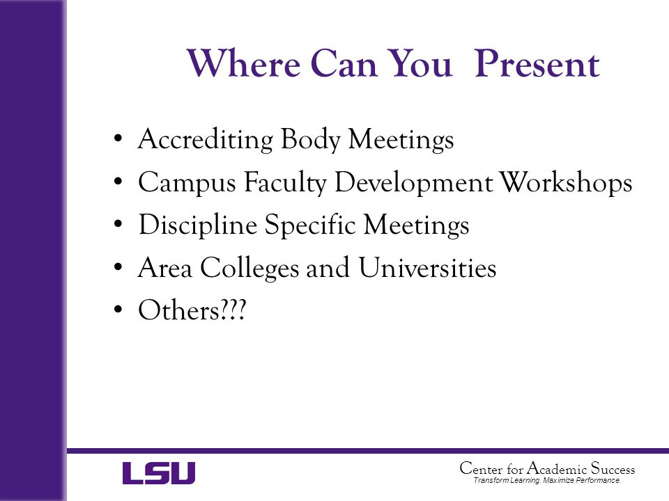 Where Can You Present Accrediting Body Meetings