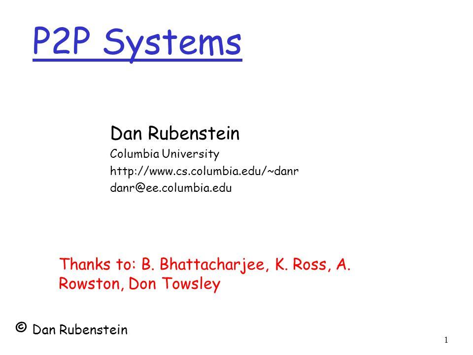 P2P Systems Dan Rubenstein