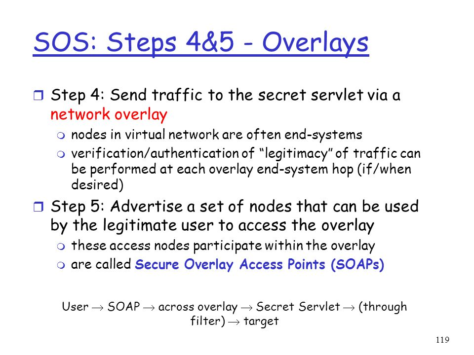 SOS: Steps 4&5 - Overlays Step 4: Send traffic to the secret servlet via a network overlay. nodes in virtual network are often end-systems.