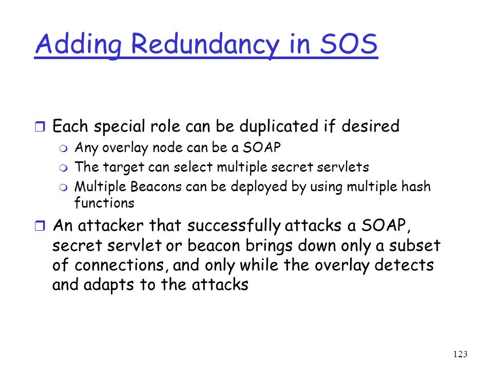 Adding Redundancy in SOS