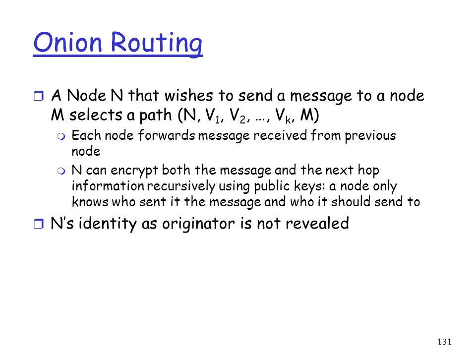 Onion Routing A Node N that wishes to send a message to a node M selects a path (N, V1, V2, …, Vk, M)