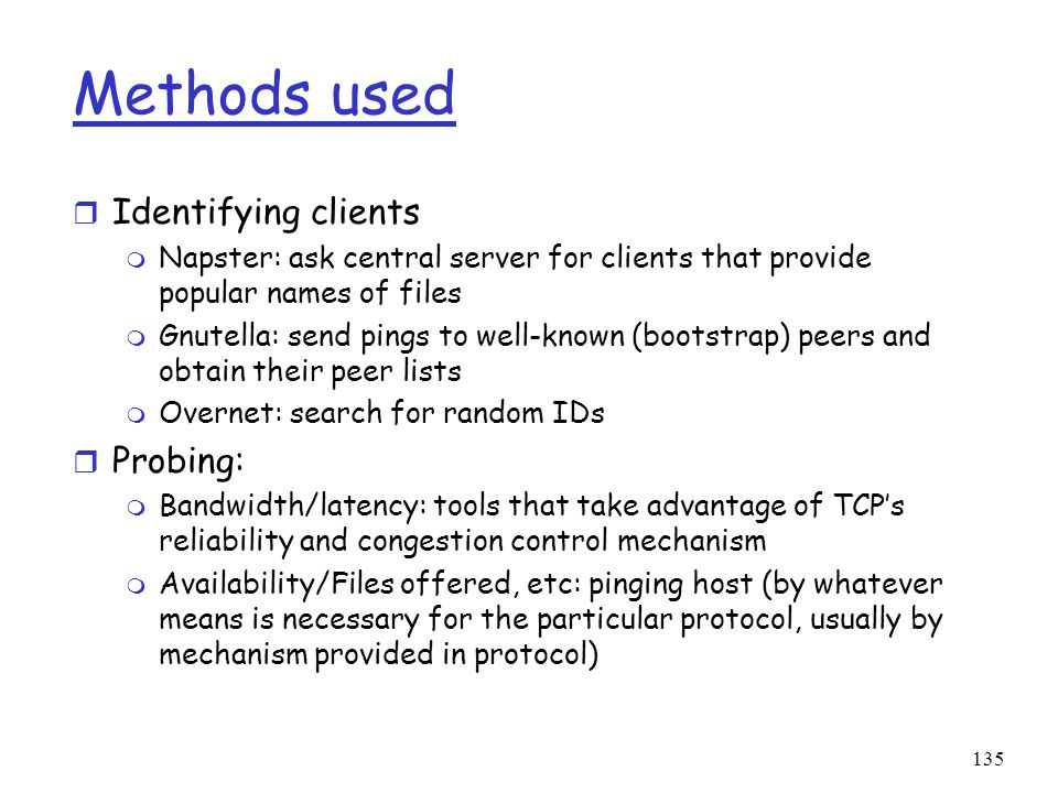 Methods used Identifying clients Probing: