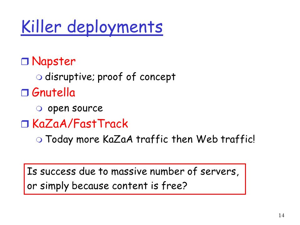 Killer deployments Napster Gnutella KaZaA/FastTrack