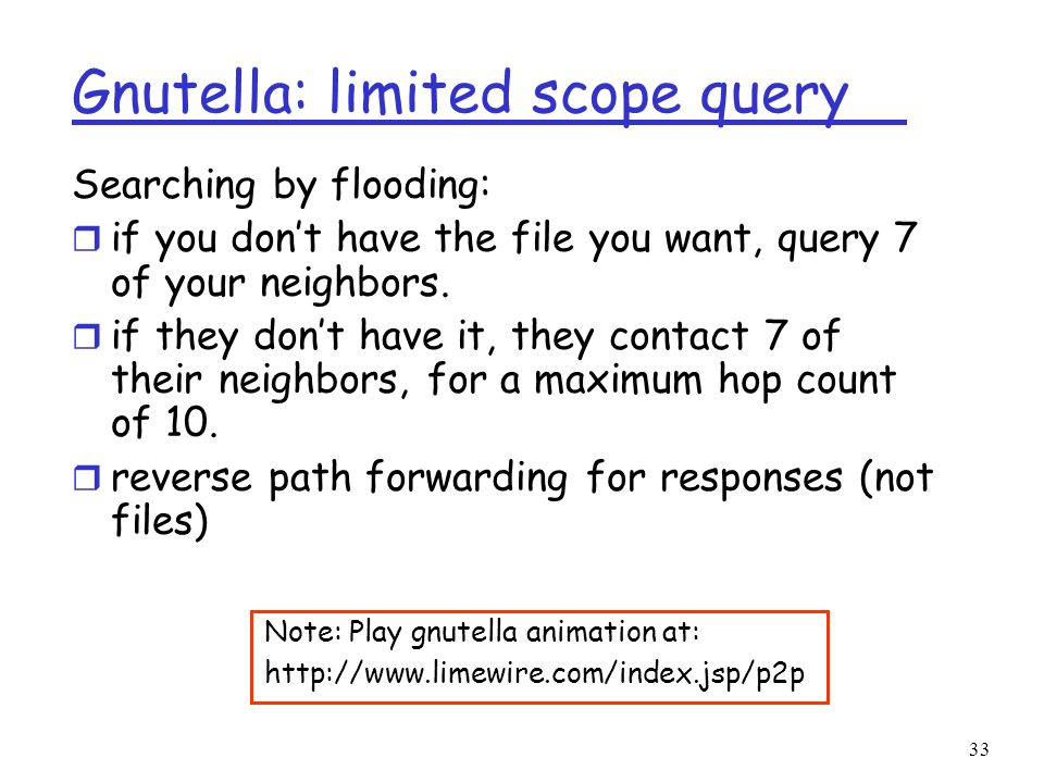 Gnutella: limited scope query