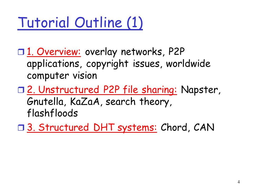 Tutorial Outline (1) 1. Overview: overlay networks, P2P applications, copyright issues, worldwide computer vision.