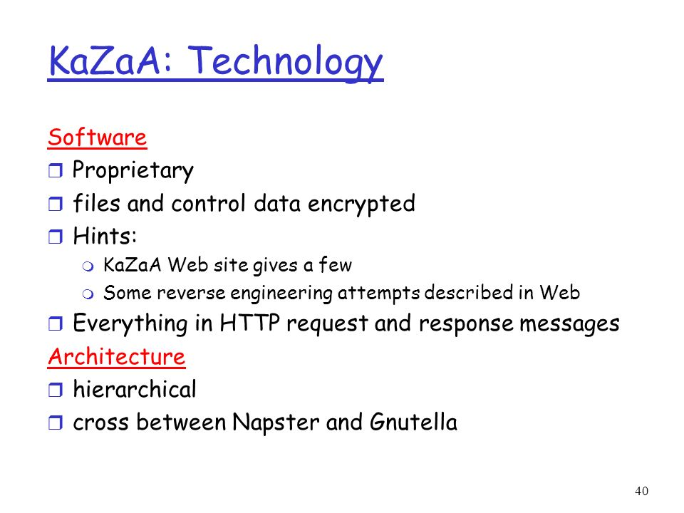 KaZaA: Technology Software Proprietary