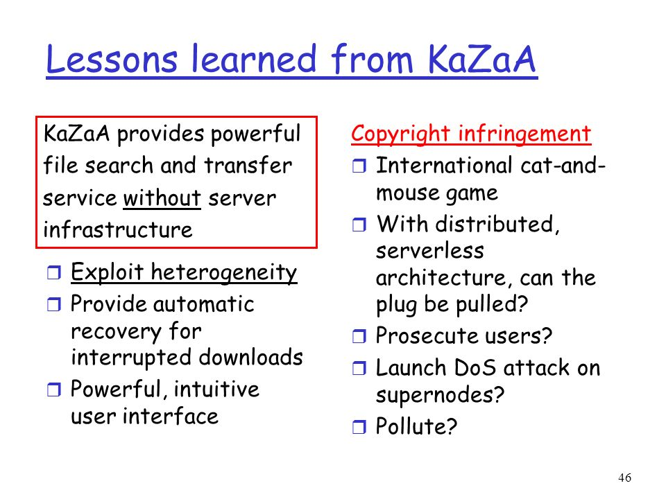 Lessons learned from KaZaA