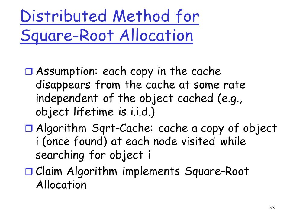 Distributed Method for Square-Root Allocation