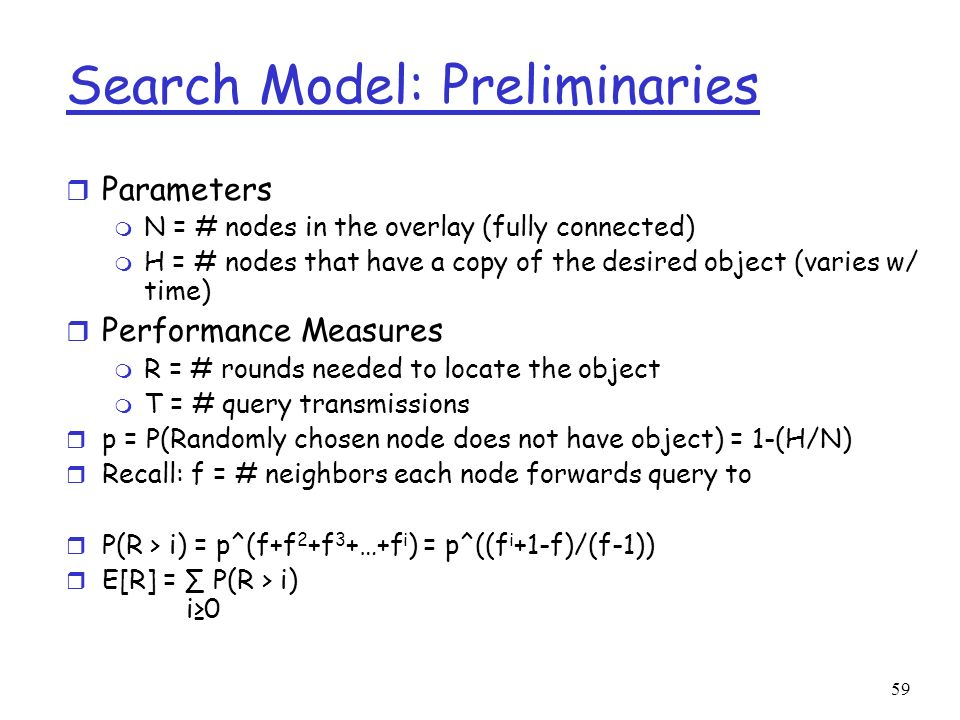 Search Model: Preliminaries