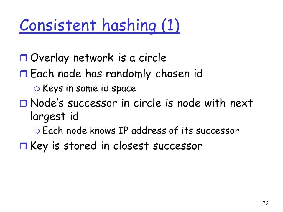 Consistent hashing (1) Overlay network is a circle