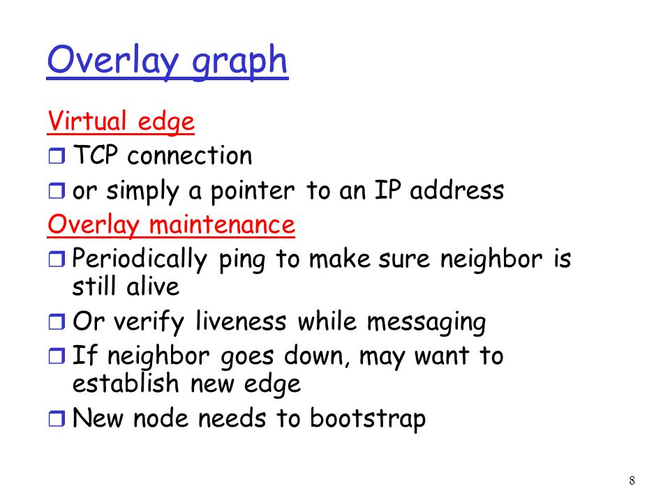 Overlay graph Virtual edge TCP connection