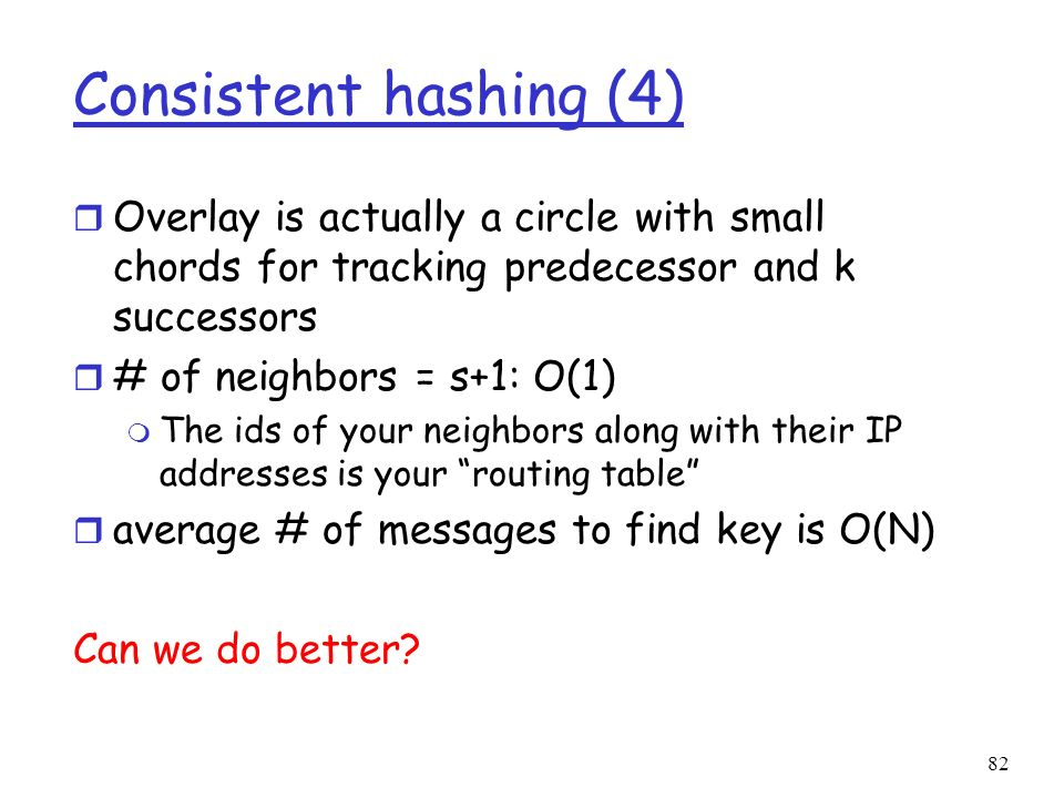 Consistent hashing (4) Overlay is actually a circle with small chords for tracking predecessor and k successors.