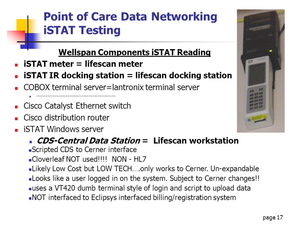 Point of Care Data Networking iSTAT Testing