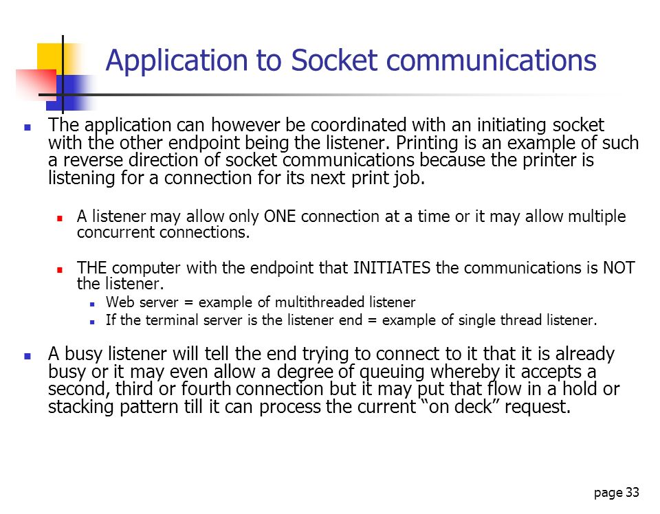 Application to Socket communications