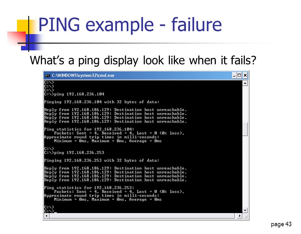 PING example - failure What's a ping display look like when it fails