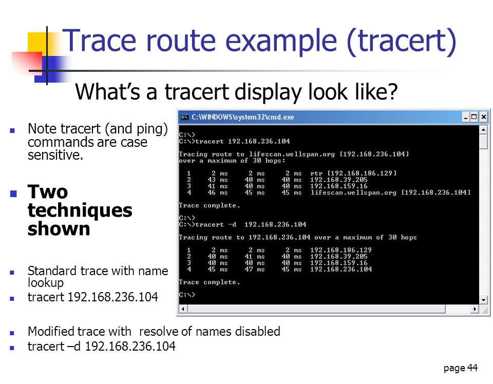 Trace route example (tracert)