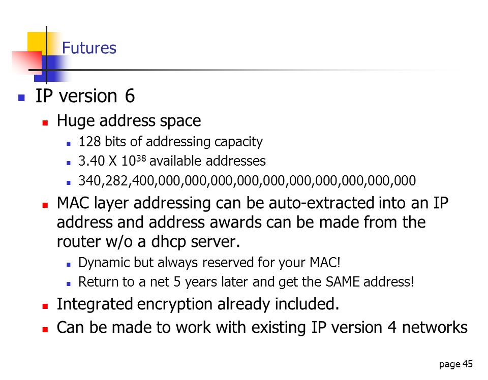 IP version 6 Futures Huge address space