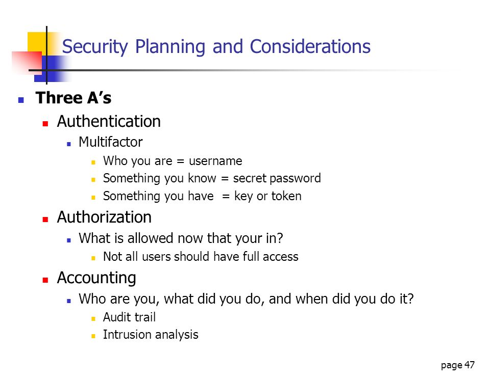 Security Planning and Considerations