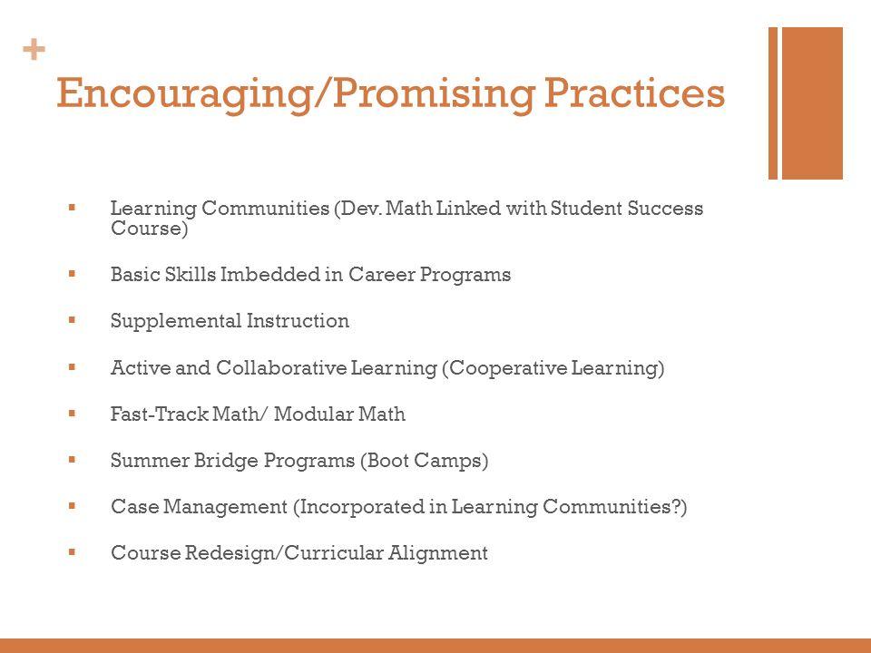 Encouraging/Promising Practices