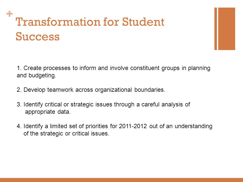 Transformation for Student Success