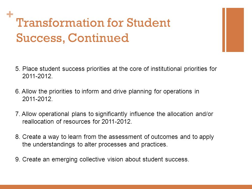 Transformation for Student Success, Continued