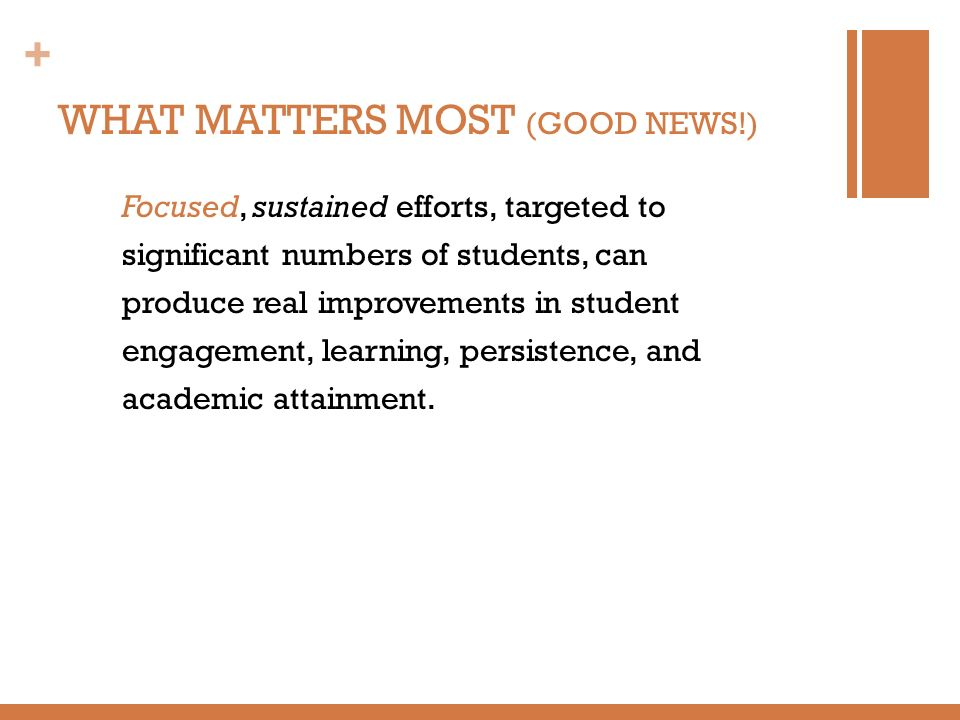 WHAT MATTERS MOST (GOOD NEWS!)