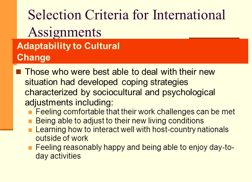 Selection criteria for international assignments ppt
